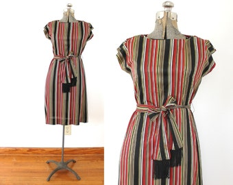 60s Dress / 1960s Red and Black Striped Wiggle Shift Secretary Dress