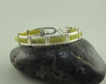 WSB-0199 Handmade New Jade Bangle Bracelet Wire Wrapped with Argentium Sterling Silver Wire