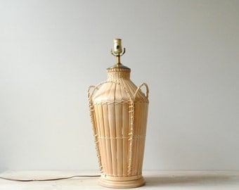 Vintage Bamboo Table Lamp, Wicker Lamp, Rattan Lamp