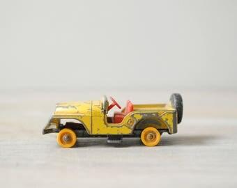 Vintage Matchbox Car, Jeep Car by Lesney, Yellow Toy Car