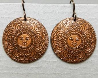 Etched Copper Mandala Sun Earrings