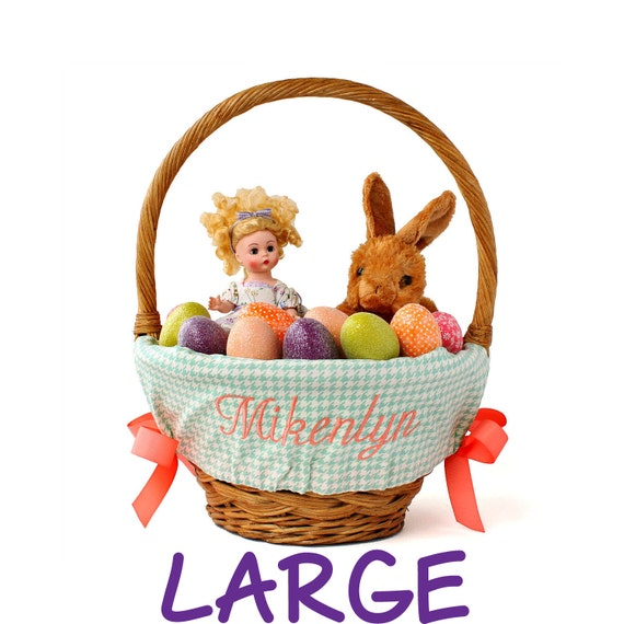 Large Personalized Easter Basket Liner for oversized baskets, Sage Houndstooth, Basket not included, Jumbo, Monogrammed basket liner