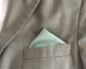 Dusty Shale Pocket Square - men's pocket square - matches JCrew Dusty Shale and BHLDN Seaglass Bridesmaids dresses - linen pocket square