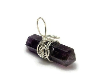 Amethyst Double Terminated Argentium Sterling Silver Wire Wrapped Pendant
