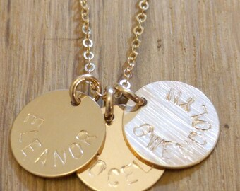 Kids Names Necklace - Gold Mom Necklace With Kids Names - Gold Engraved Necklace 3 Charms Personalized Mom Jewelry Gold Disc Necklace Simple