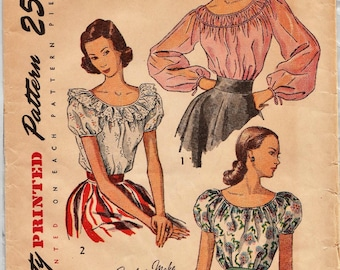 Simplicity 2484 / Vintage 40s Sewing Pattern / Peasant Blouse / Size 16 Bust 34
