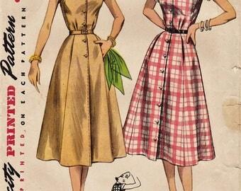 Vintage 50s Sewing Pattern / Simplicity 4260 / Shirtwaist Dress / Size 16 Bust 34
