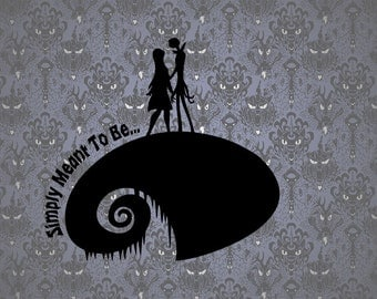 Jack and Sally Nightmare before Christmas Inspired Paper Cut File for silhouette or circut - SVG file - Srapbooking and Paper Art DYI