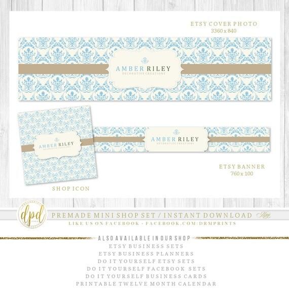 Premade DIY Etsy Mini Set | Blank Etsy Set | Premade Shop Set | Etsy Shop Graphics | Etsy Business Set | INSTANT DOWNLOAD-AA118