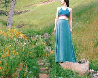 26 Inch Waist Long Skirt... SF Opera Skirt Smoky Teal Maxi Skirt Beautiful Flowing Linen Type Fabric