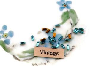 Antique glass Rhinestones,Baguettes rhinestones, Sapphire baguettes, 4x1.5mm France Vintage Blue Tiny #1496G