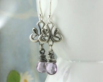 Silver Amethyst Drop Earrings, Petite Sterling Silver, Lavender Purple Dangle Earrings, February Birthstone, Valentines Gift Art Nouveau,
