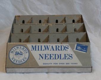 Metal Milwards Needles Store Display Rack, Old Vintage Advertising