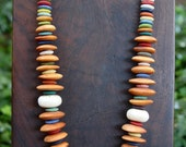 Earthy African Rainbow Necklace Golden Bone and Recycled Glass Discs Ethnic Boho Jewelry