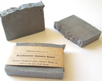 Blueberry Honey Soap, Cold Process Soap, Handmade Soap, Bar Soap, Palm-free