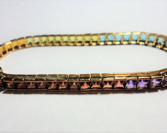 Gemstone Rainbow Tennis Bracelet w 52 Square Cut Colorful Gems Channel Set in Tennis Link Bracelet in Solid 14k Gold w Safety Clasp 6.50""