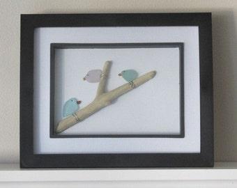 Bird Wall Art, Wall Decor, Birds, Gift for Her, Bird Lover Gift, Outdoor Art, Sea Glass Birds