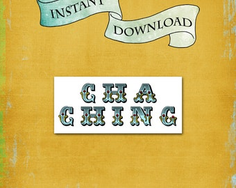 Cha Ching Money Holder / Graduation, Birthday, Christmas / Cash or Check Gift Envelope / Money Card / Loot Moola Dinero Currency / DIY