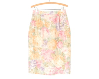 Floral Pencil Skirt * Vintage Pastel Moiré Skirt * Vintage 80s Midi Skirt * Large