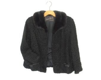 50s Fur Coat * Persian Lamb Coat * 1950s Cropped Jacket * Boxy Swing Coat * Medium - Large