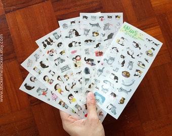 6 SHEETS, CAT stickers, Ppozzatoon sticker, Cat Lady stickers, Cat Lover stickers, Kitten stickers, Cat sticker set