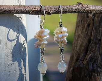 OOAK Keshi Pearl & Chalcedony Earrings, Handmade Urban Chic Long Dangle Earrings, Wearable Art, Handcrafted Artisan Sterling Silver Earrings