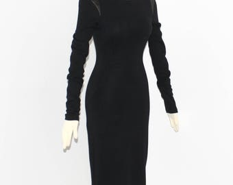AZZEDINE ALAIA Vintage LBD Black Thick Knit Leather Shoulder Body Con Dress - Authentic -