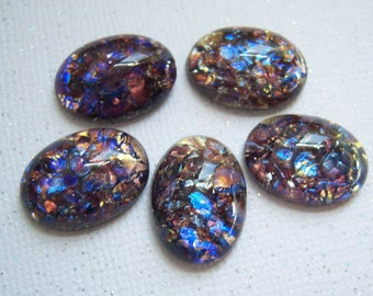 2 -DARK Amethyst opal 18x13mm Czech glass cabochon - GK202