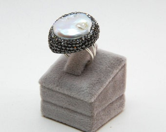 Druzy Chrysoprase  Pearl Gemstone Swarovski Crystal  Rings Sterling Silver  Adjustable Sparkly Drusy