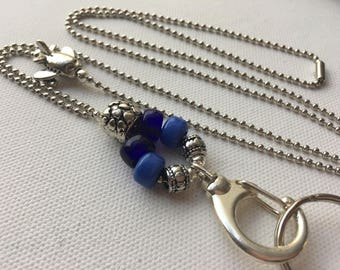 Blue Airplane Lanyard Ball Chain ID Badge with Silver Pandora style beads