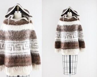S A L E bolivian alpaca - hooded fringe poncho