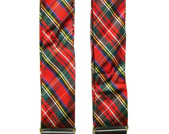 Vintage Clip On Braces - Red Tartan Pattern - Polished Gold Accents - Plaid Suspenders