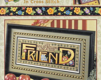 2003 Mary Engelbreit Just Between Friends in Cross Stitch Leisure Arts Softcover 37 pages Patterns