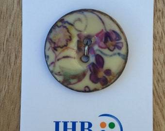 """Violet Flower Button by JHB, Carded Button, Purple, Lavender, 2 Hole Sewing Button, Style 50003, 1  1/4"""" (32mm), Made in Italy, Large Button"""