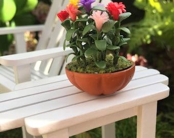 SALE Miniature Lilliput Zinnias in Clay Flower Pot, Dollhouse Miniature, 1:12 Scale, Dollhouse Flowers, Miniature Flowers, Mini Zinnias