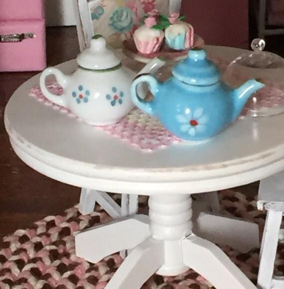 Miniature Teapots, Set of 2, Blue and White Teapots, Dollhouse Miniature, 1:12 Scale, Dollhouse Accessories, Decor, Tea Set, Blue and White