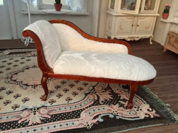 Miniature Chaise, Queen Anne Style Upholstered Lounge, Walnut Chaise, Dollhouse Furniture, 1:12 Scale, Miniature Collectible