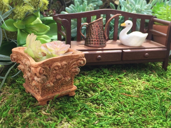 Miniature Planter, Clorinthian Square Planter, Dollhouse Miniature, 1:12 Scale Miniature Garden Decor, Fairy Garden Accessory