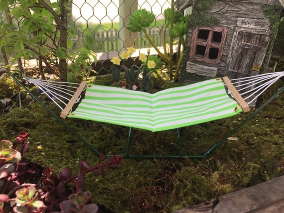 Miniature Hammock, Green Stripe, Dollhouse Miniature, Fairy Garden Accessory, Miniature Yard and Garden Decor