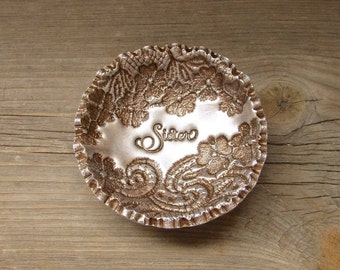 Sister Gift Vintage Floral Lace Antique Bronze Pearl Ring Dish Small Jewelry Holder Personalized For Her, Wedding Party Bridesmaid Gift Idea
