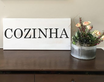 "Kitchen ""Cozinha"" - Large, Rustic Handpainted Sign - 12"" x 24"""