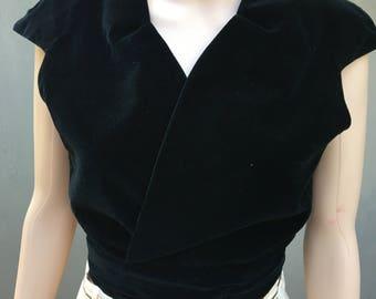1970s black velvet plush cropped wrap top blouse Medium