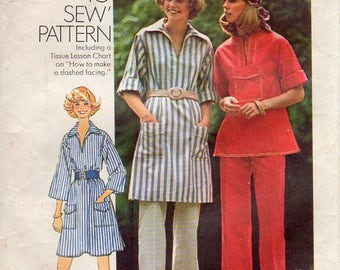 1970s Slash Neck Top or Dress and Pants - Vintage Pattern Simplicity 7250 - Size 12 Bust 34