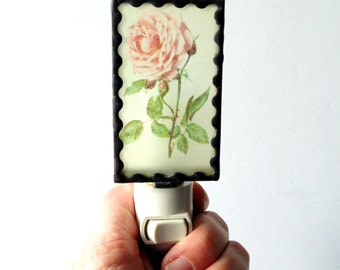 Pink rose night light, stained glass handmade light, decorative flower nightlight for kitchen, bedroom, bathroom
