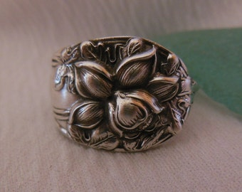 Daffodil  Antique Spoon Ring  Sterling Silver Size 8
