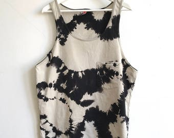 Black and Tan Cotton Tank Hand Dyed Shibori