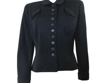 Vintage 1940s 40s Black Wool Gabardine Ladies Peplum Suit Jacket Coat Tailored by Handmacher