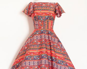 70's Aztec Floral Cotton Tea Dress - Made by Dig For Victory