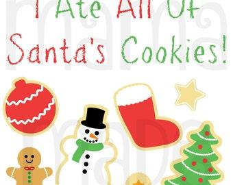 Boy's Christmas Shirt,I ate all santa's cookies Shirt, Christmas Cookie Shirt, Boy's Funny Christmas Shirt, Personalized Christmas Shirt