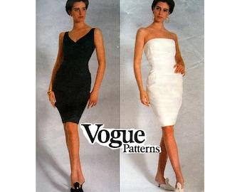 1990s DONNA KARAN Boned Strapless or Sheath Dress Pattern Vogue American Designer 2470 Size 6 8 10 UNCUT Factory Folded